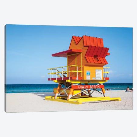 Lifeguard Cabin, South Beach, Miami I Canvas Print #TEO808} by Matteo Colombo Canvas Art
