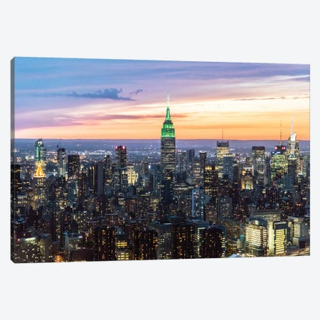 Skyline At Dusk II, Midtown, New York City, New York, USA Canvas Print #TEO80} by Matteo Colombo Canvas Art