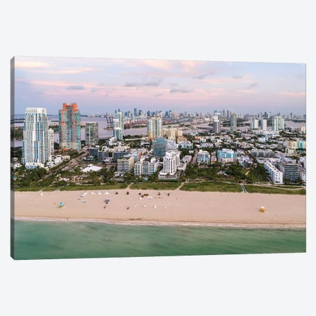 South Beach Aerial, Miami Canvas Print #TEO812} by Matteo Colombo Art Print