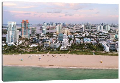 South Beach Aerial, Miami Canvas Art Print