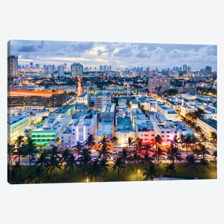 Ocean Drive And Skyline, Miami Canvas Print #TEO813} by Matteo Colombo Art Print