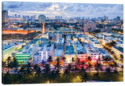 Ocean Drive And Skyline, Miami Canvas Art Print