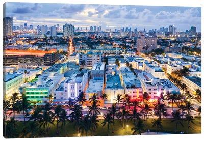 Ocean Drive And Skyline, Miami Canvas Art Print