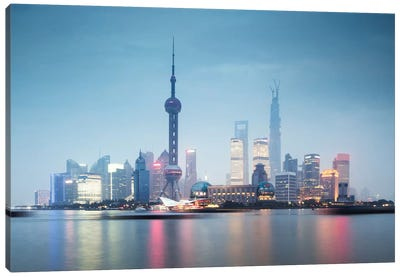 Skyline At Dusk, Lujiazui, Pudong, Shanghai, People's Republic Of China Canvas Art Print