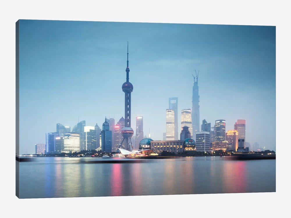 Skyline At Dusk, Lujiazui, Pudong, Shanghai, People's Republic Of China by Matteo Colombo 1-piece Canvas Art Print