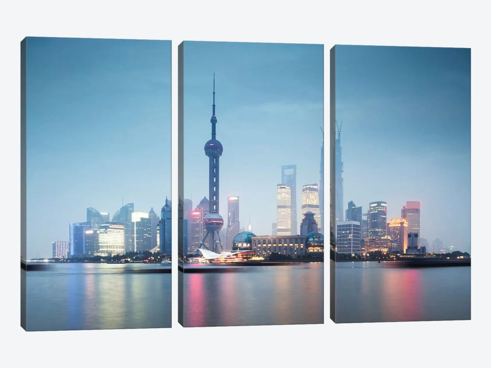 Skyline At Dusk, Lujiazui, Pudong, Shanghai, People's Republic Of China by Matteo Colombo 3-piece Art Print