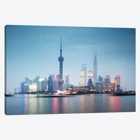 Skyline At Dusk, Lujiazui, Pudong, Shanghai, People's Republic Of China 3-Piece Canvas #TEO81} by Matteo Colombo Canvas Wall Art