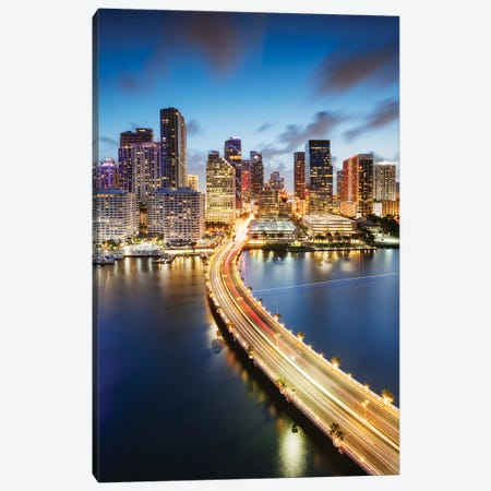 Miami Skyline At Night II 3-Piece Canvas #TEO820} by Matteo Colombo Canvas Wall Art