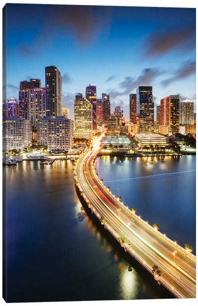 Miami Skyline At Night II Canvas Art Print
