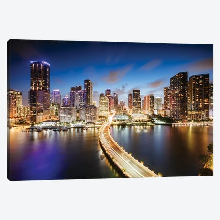 Miami Skyline At Night I Canvas Print #TEO821} by Matteo Colombo Canvas Artwork