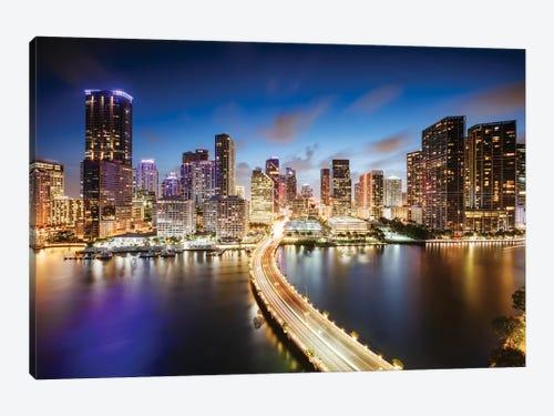 Miami Skyline At Night I Canvas Art Print By Matteo Colombo Icanvas