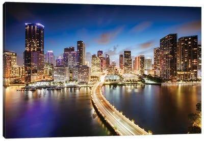 Miami Skyline At Night I Canvas Art Print