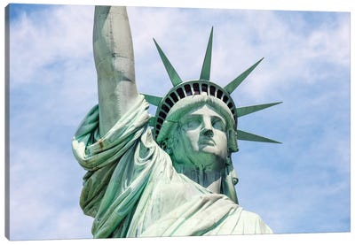 Statue Of Liberty In Zoom, New York City, New York, USA Canvas Art Print