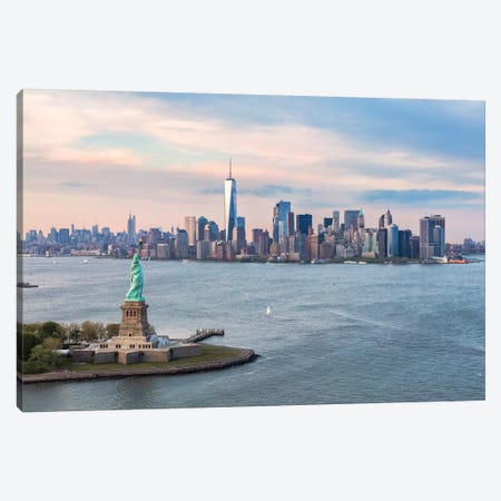Statue Of Liberty, New York Harbor, Manhattan Skyline, New York City, New York, USA Canvas Print #TEO86} by Matteo Colombo Canvas Art Print