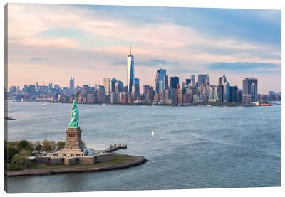 Statue Of Liberty, New York Harbor, Manhattan Skyline, New York City, New York, USA Canvas Print #TEO86