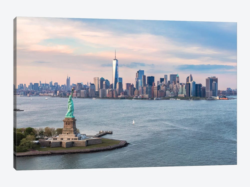 Statue Of Liberty, New York Harbor, Manhattan Skyline, New York City, New York, USA by Matteo Colombo 1-piece Canvas Art