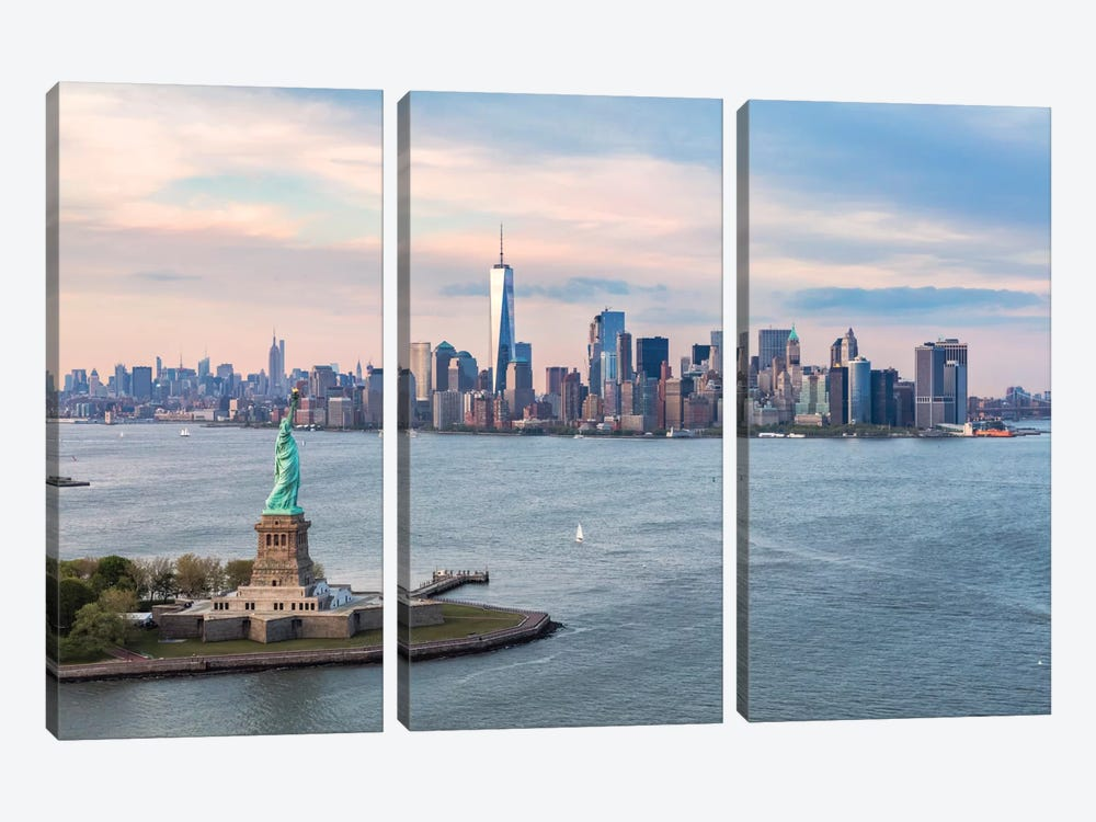 Statue Of Liberty, New York Harbor, Manhattan Skyline, New York City, New York, USA by Matteo Colombo 3-piece Canvas Art