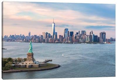 Statue Of Liberty, New York Harbor, Manhattan Skyline, New York City, New York, USA Canvas Art Print