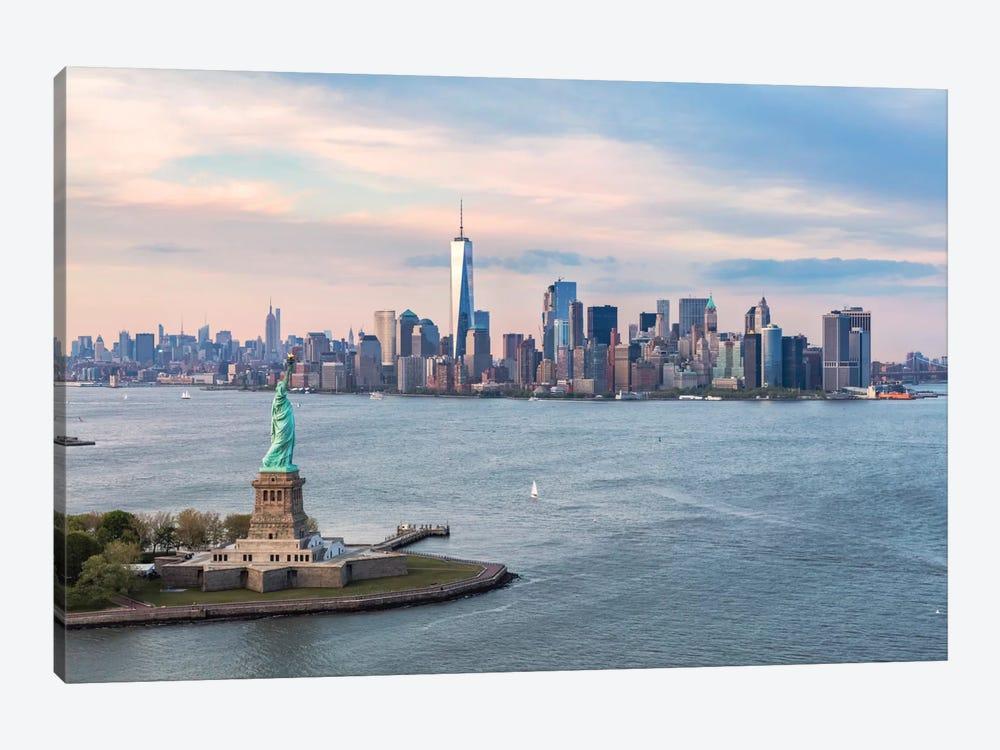Statue Of Liberty, New York Harbor, Manhattan Skyline, New York City, New York, USA by Matteo Colombo 1-piece Canvas Art