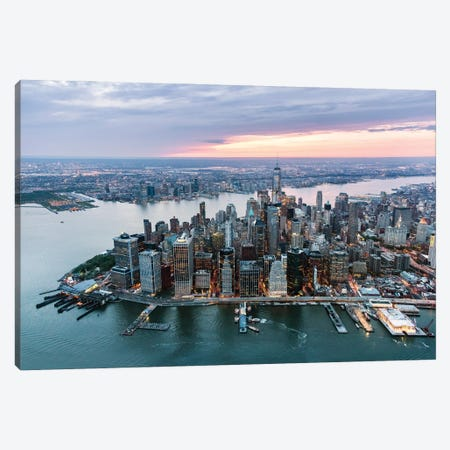 Manhattan At Sunset Canvas Print #TEO903} by Matteo Colombo Canvas Art Print