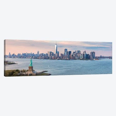 Lady Liberty And Manhattan Canvas Print #TEO905} by Matteo Colombo Canvas Artwork