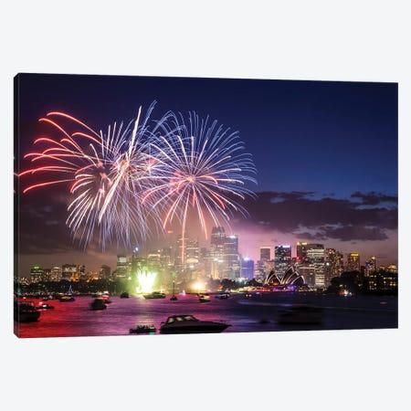 Sydney Fireworks I Canvas Print #TEO939} by Matteo Colombo Canvas Wall Art