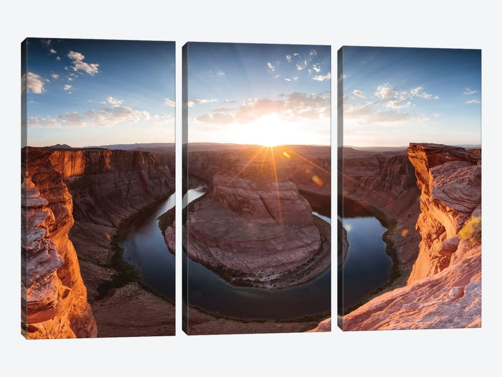 Sunset I, Horseshoe Bend, Glen Canyon National Recreation Area, Arizona, USA by Matteo Colombo 3-piece Canvas Wall Art