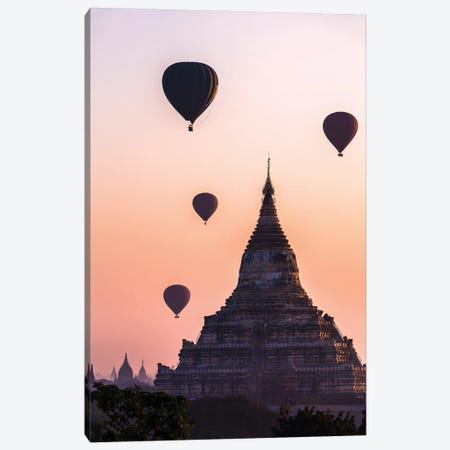 Sunrise Over The Temple, Myanmar Canvas Print #TEO954} by Matteo Colombo Art Print