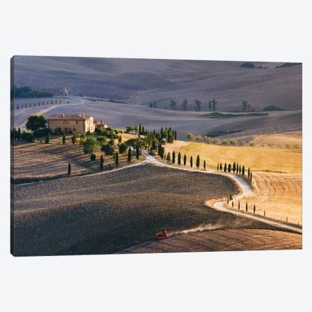 Sunset Over Terrapille Farm, Val d'Orcia, Tuscany, Italy Canvas Print #TEO95} by Matteo Colombo Canvas Wall Art