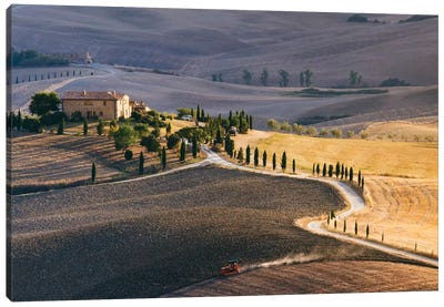 Sunset Over Terrapille Farm, Val d'Orcia, Tuscany, Italy Canvas Print #TEO95