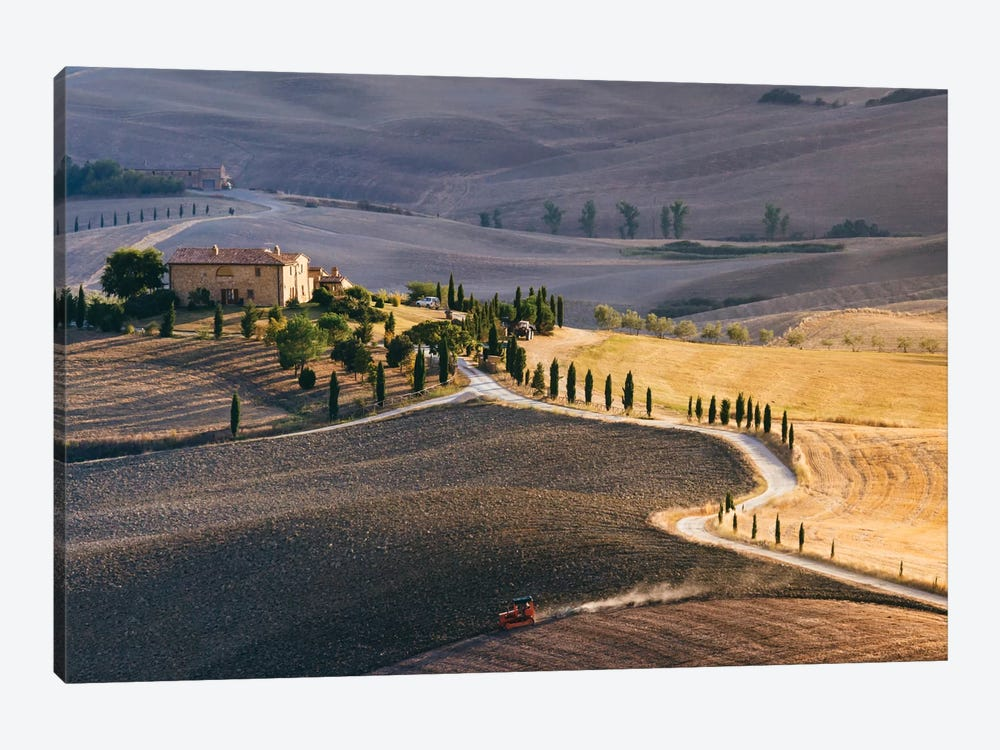 Sunset Over Terrapille Farm, Val d'Orcia, Tuscany, Italy 1-piece Canvas Art