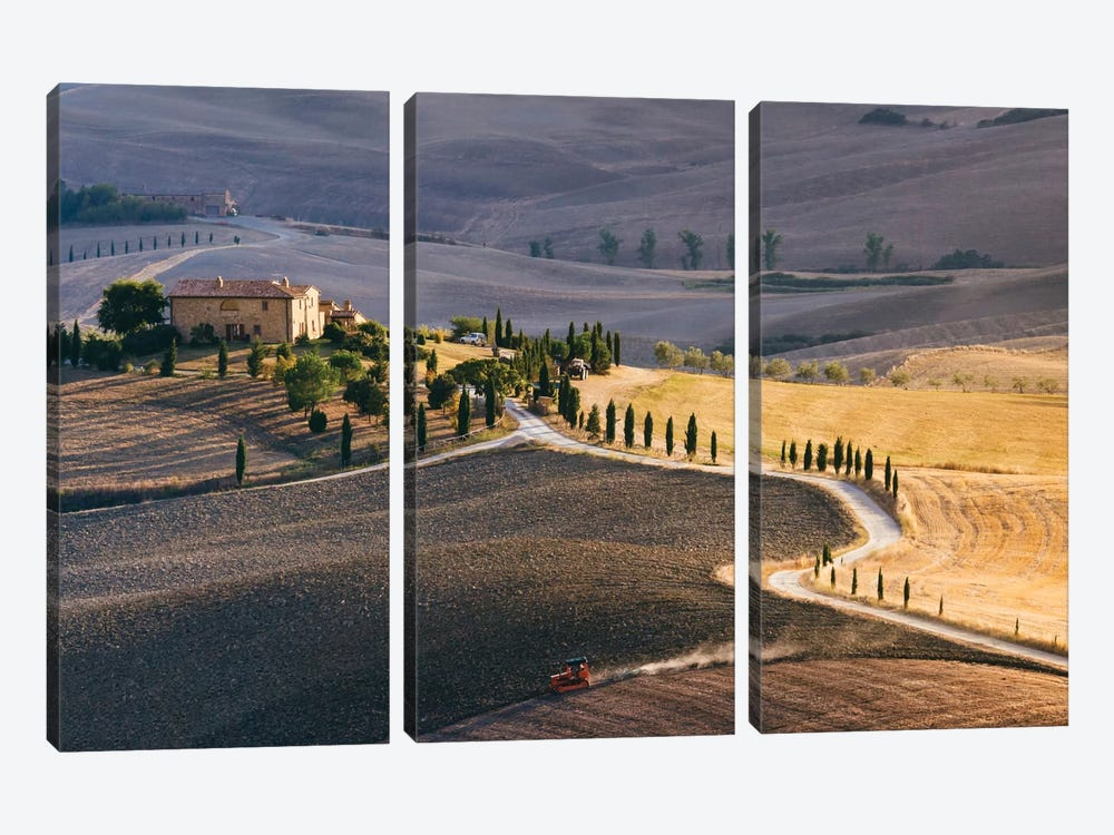 Sunset Over Terrapille Farm, Val d'Orcia, Tuscany, Italy 3-piece Canvas Wall Art