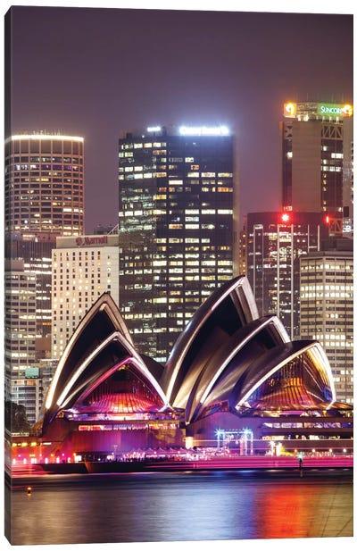 Sydney Opera House At Night, Sydney, New South Wales, Australia Canvas Print #TEO97