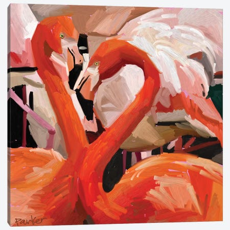 Flamingo Flamboyance Canvas Print #TEP12} by Teddi Parker Canvas Wall Art
