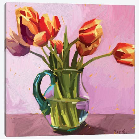 Warm Tulips Canvas Print #TEP34} by Teddi Parker Art Print