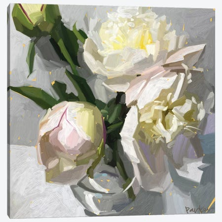 Delicate Peonies Canvas Print #TEP38} by Teddi Parker Canvas Art