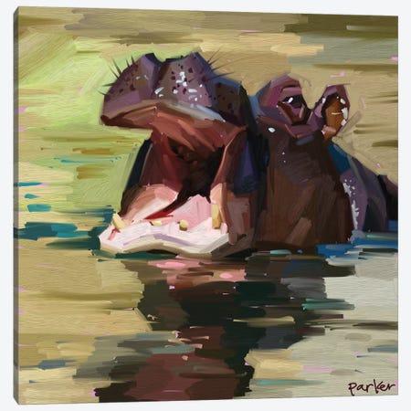 Purple Hippo Canvas Print #TEP58} by Teddi Parker Canvas Art