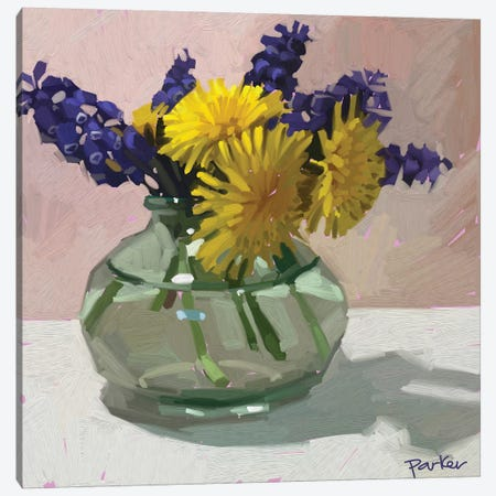 Dandelions And Hyacinth Canvas Print #TEP8} by Teddi Parker Canvas Art Print