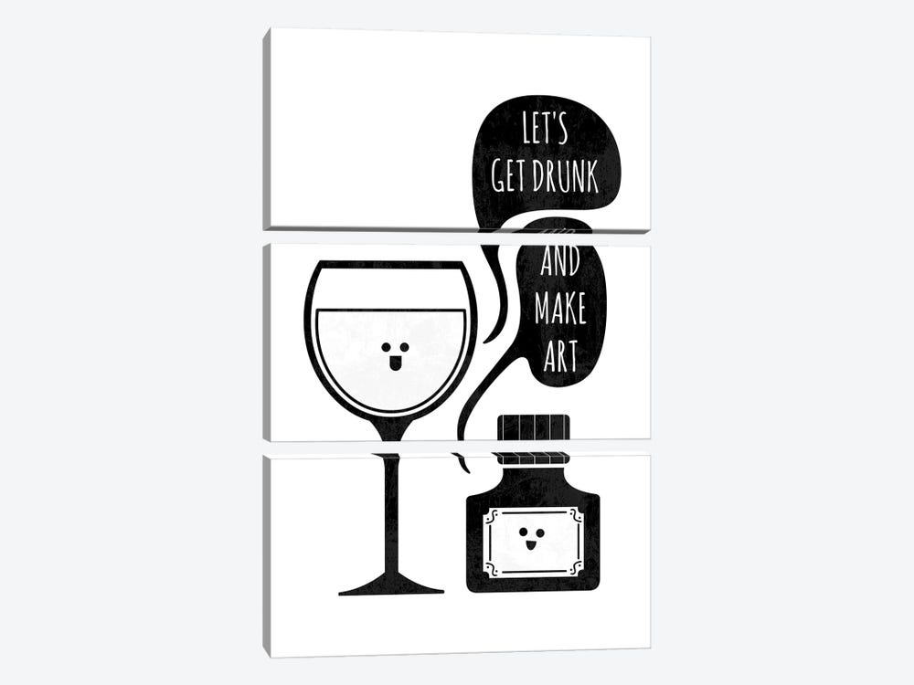 Drink And Draw by HandsOffMyDinosaur 3-piece Canvas Wall Art