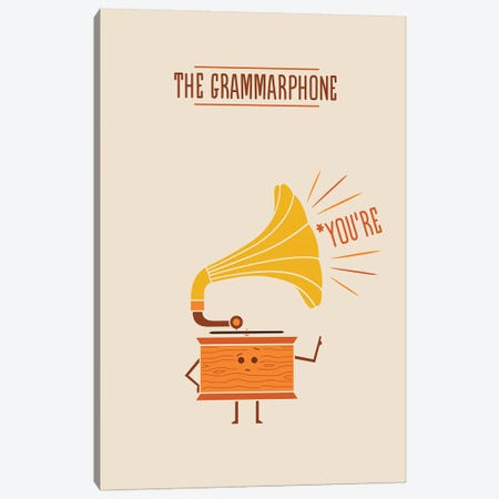 Grammarphone Canvas Print #TEZ21} by HandsOffMyDinosaur Canvas Art Print