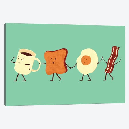 Let's All Go For Breakfast Canvas Print #TEZ30} by HandsOffMyDinosaur Canvas Artwork