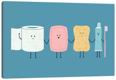The Bathroom Gang Canvas Art Print