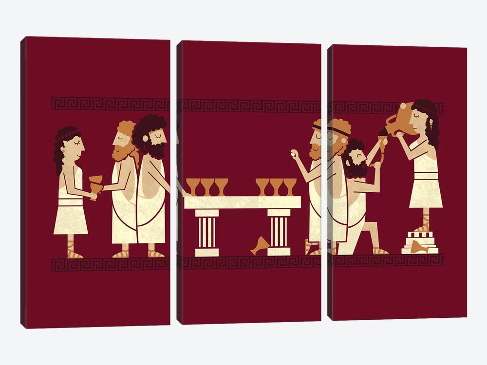 Toga Party by HandsOffMyDinosaur 3-piece Canvas Wall Art