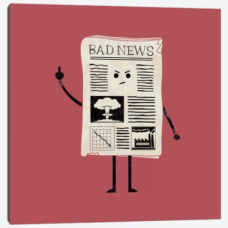 Bad News Canvas Print #TEZ5} by HandsOffMyDinosaur Canvas Artwork