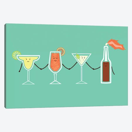 Cocktails Canvas Print #TEZ9} by HandsOffMyDinosaur Canvas Art Print