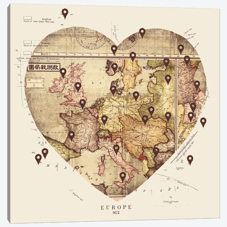 Love To Travel Canvas Print #TFA102} by Tobias Fonseca Canvas Art