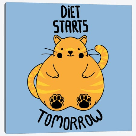 Diet Starts Tomorrow 3-Piece Canvas #TFA136} by Tobias Fonseca Canvas Art