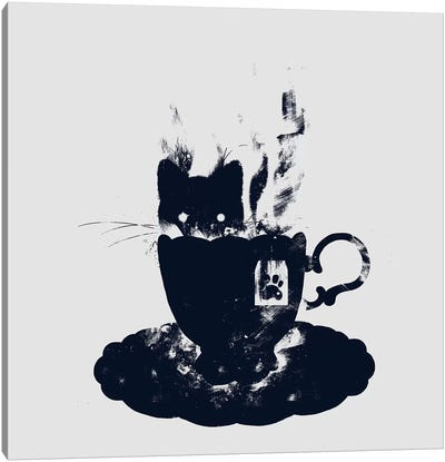Having Tea With My Lovely Cat Canvas Print #TFA163