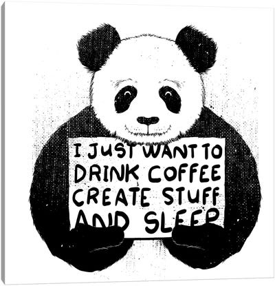 I Just Want To Drink Coffee, Create Stuff, And Sleep Canvas Art Print