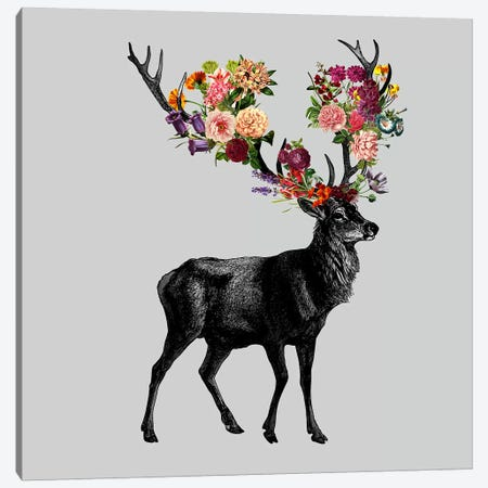 Sprint Itself (Deer Floral) Canvas Print #TFA238} by Tobias Fonseca Canvas Wall Art